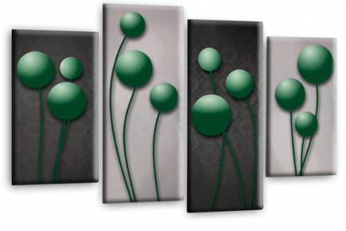 Abstract Floral Canvas Wall Art Picture Grey Green Flower Print
